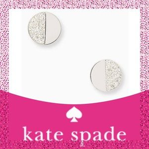 "Kate Spade ♠️ Silver ""Mod Scallop"" Pave Earrings"